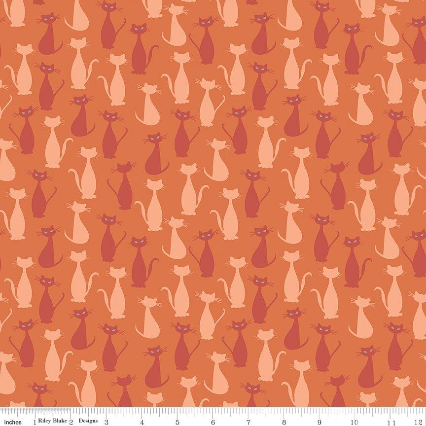 Spooky Hollow - Cats Orange (Silver Sparkle)