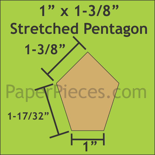 Paper Pieces 1 x 1 3/8 Stretched Pentagon papers (36 pieces)