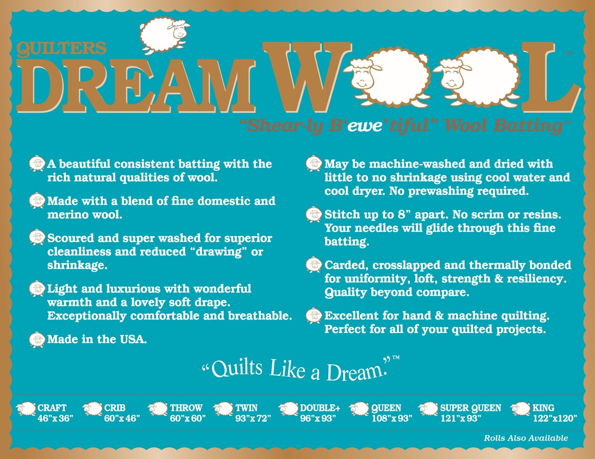 Quilters Dream Wool Batting - Throw