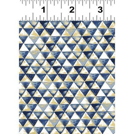 Elephant's Garden Navy Blue Metallic Triangles