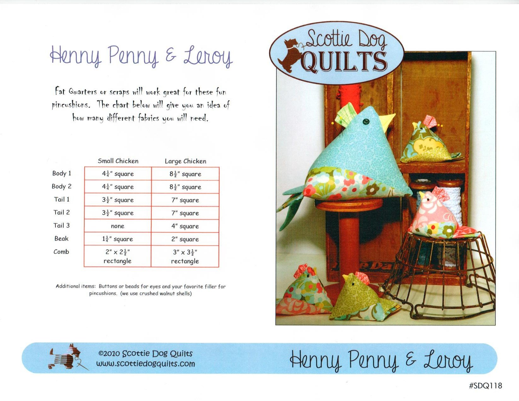 Henny Penny and Leroy Chicken Pincushion Pattern