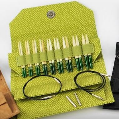 Lykke Grove 3.5 & 5 Interchangeable Needle Set in Green Basketweave Effect