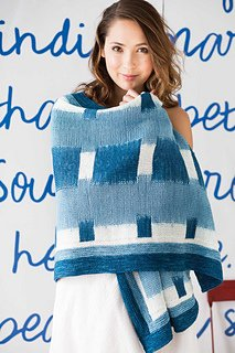 Prism Yarns Shades of Blue Wrap featured in Vogue Knitting