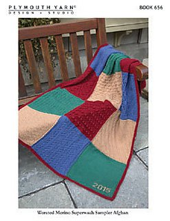 Worsted Merino SW Sampler Afghan Book 656 by Plymouth
