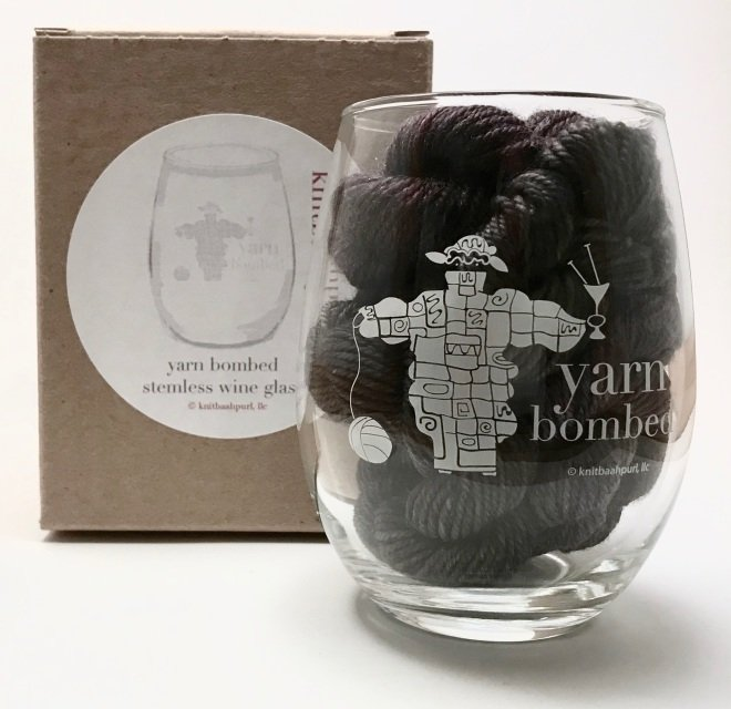 Knit Baah Purl Stemless Wine Glass