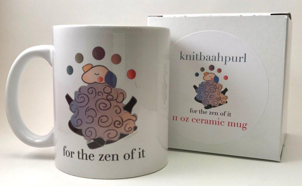 Knit Baah Purl Ceramic 15 oz Mugs with Sheepy Sayings