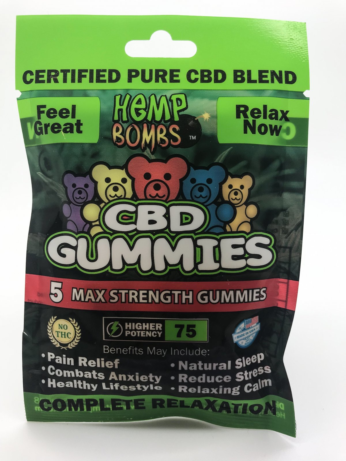 Hemp Bomb CBD Gummies  5pk 75mg