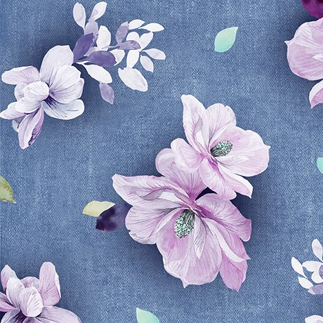 Jacqueline, Tossed Flowers, Denim