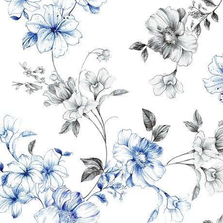Spaced Floral Vine, White