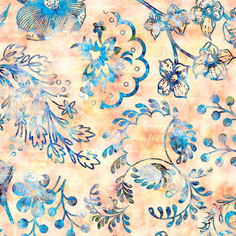 Flora Luna, Floral, Coral Blue