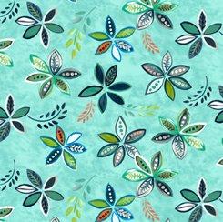 Peaceful Flowers Teal, QT Fabrics
