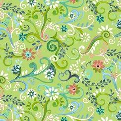 Garden Swirl Lime, QT Fabrics