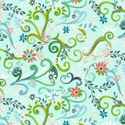 Garden Swirl Aqua, QT Fabrics