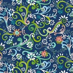 Garden Swirl Navy, QT Fabrics