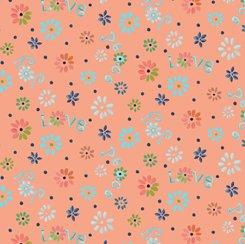 Ditsy Flowers Coral, QT Fabrics