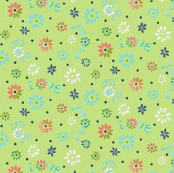 Ditsy Flowers LIme, QT Fabrics
