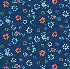 Ditsy Flowers Navy, QT Fabrics