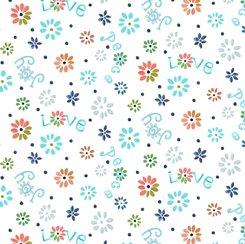 Ditsy Flowers White, QT Fabrics