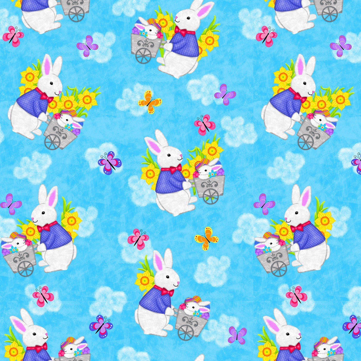 Hello Spring, Blue Bunnies