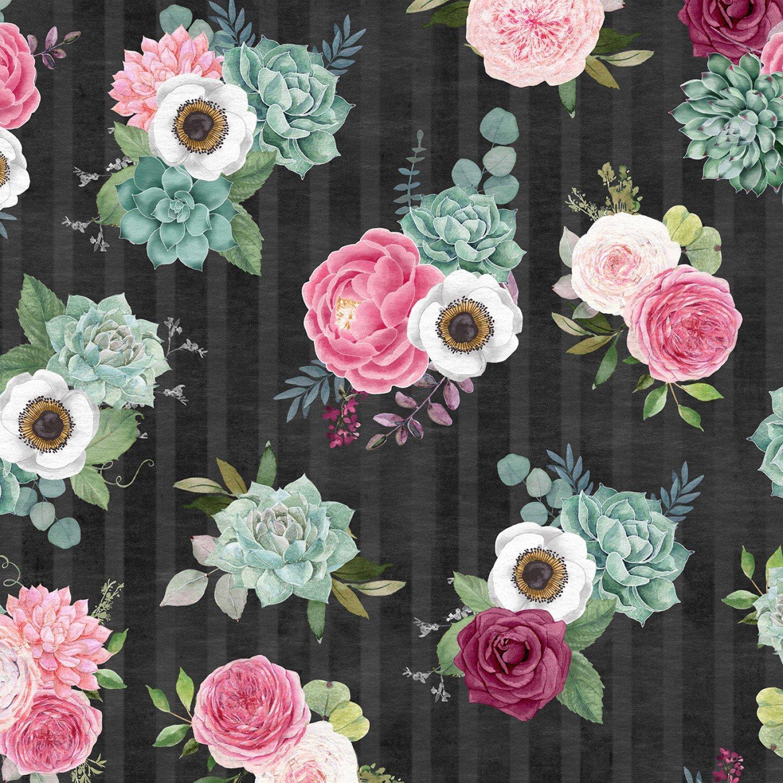 Black Packed Flowers