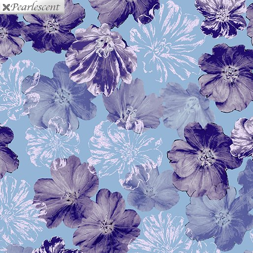 Shimmery Blossoms, Navy-Purple