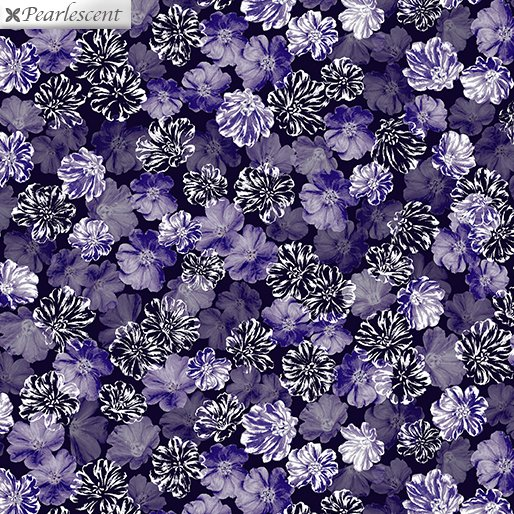 Pearly Blooms, Navy-Purple