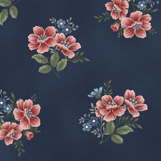 Medium Tossed Flowers, Dk Blue