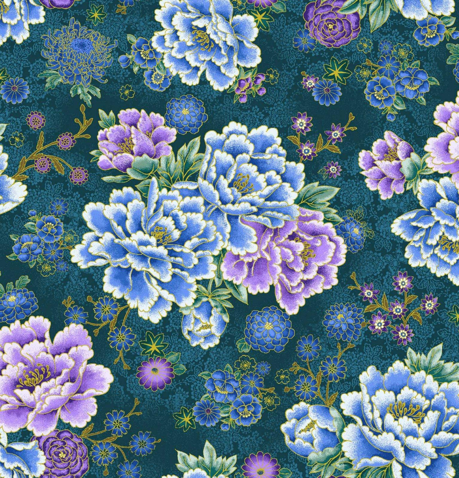 Asian Garden, Floral Metallic