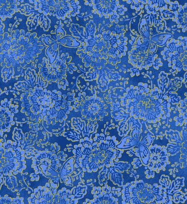 Asian Garden, Floral Metallic, Blue