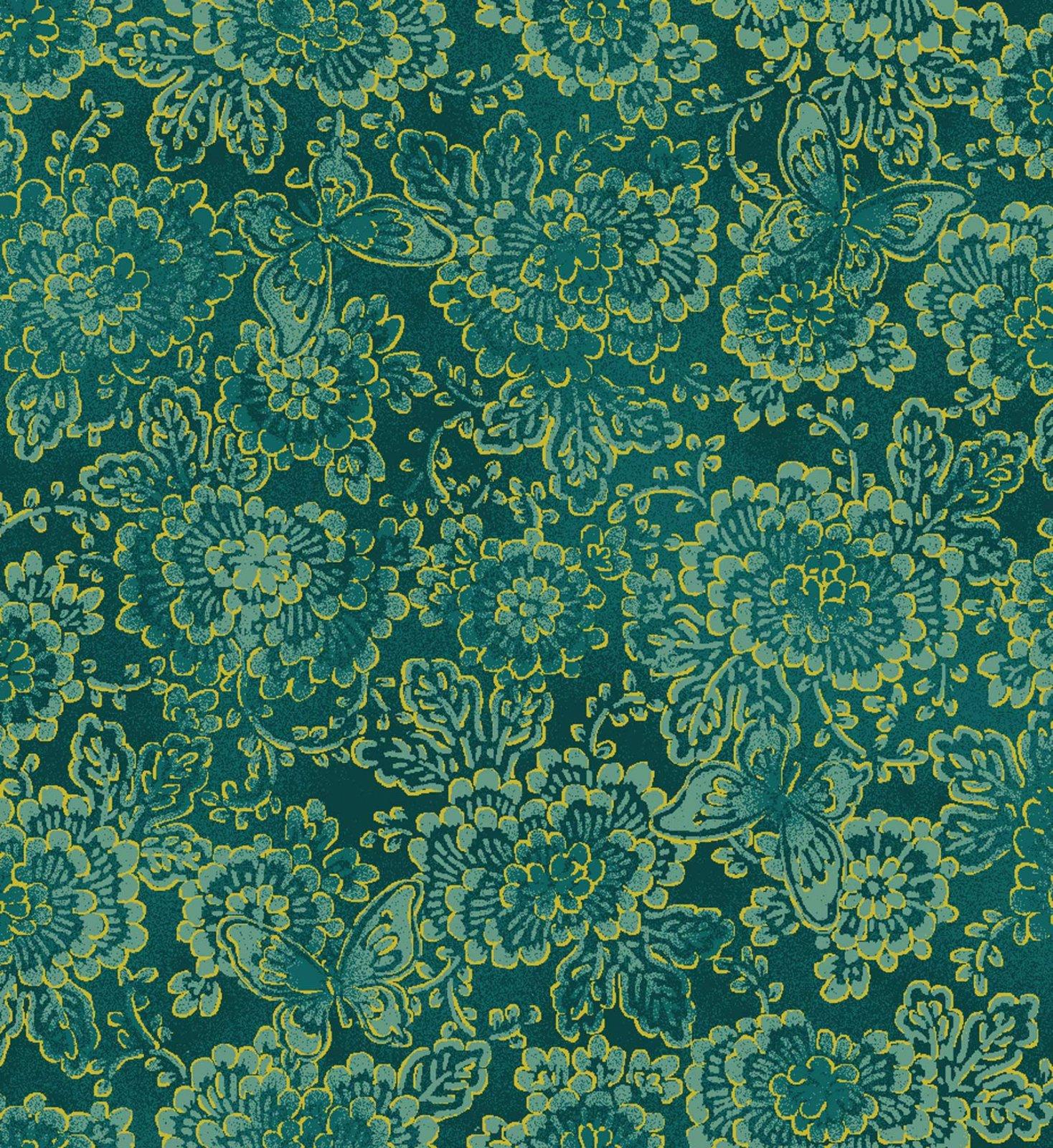 Asian Garden, Floral Metallic, Green