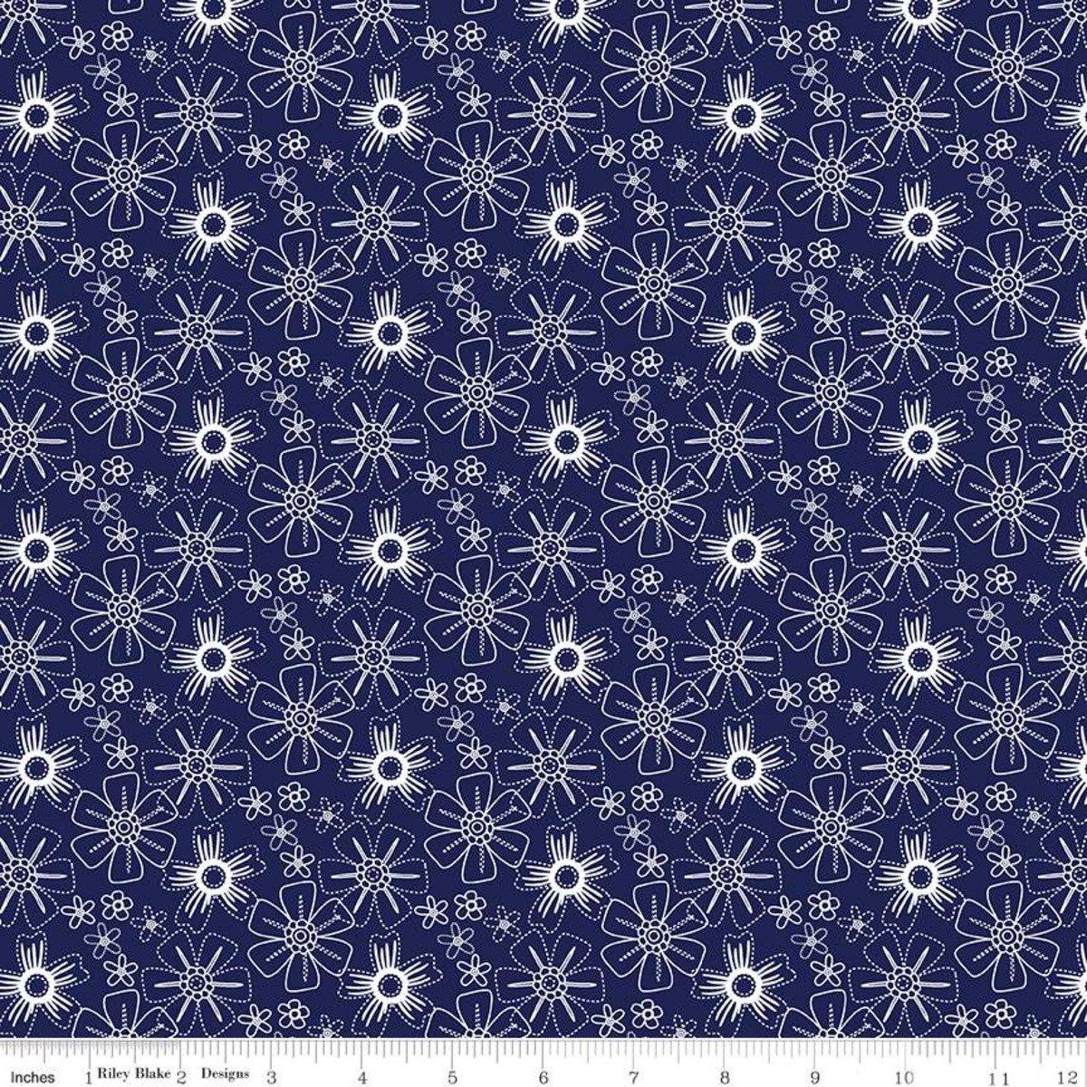 Floral Navy, Blue Stitch