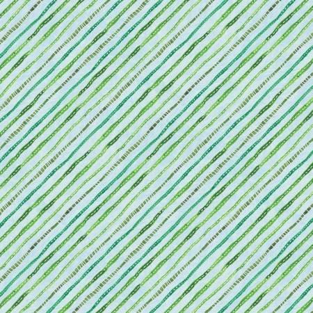 Floral Flight Lt. Blue Ticking Stripe