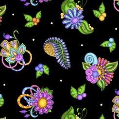 Paisley Floral Toss, Black