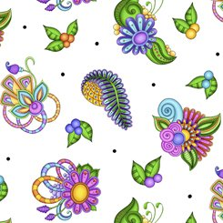 Paisley Floral Toss, White