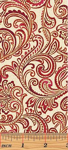 Golden Scroll Cream/Red , Chickadees & Berries