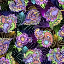 Floral Paisley Prism, Black