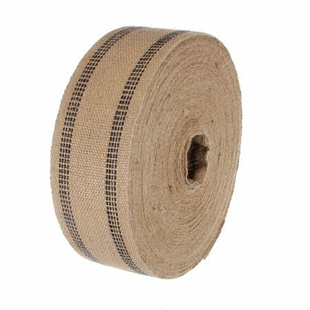 Jute Webbing Natural With Black Stripe