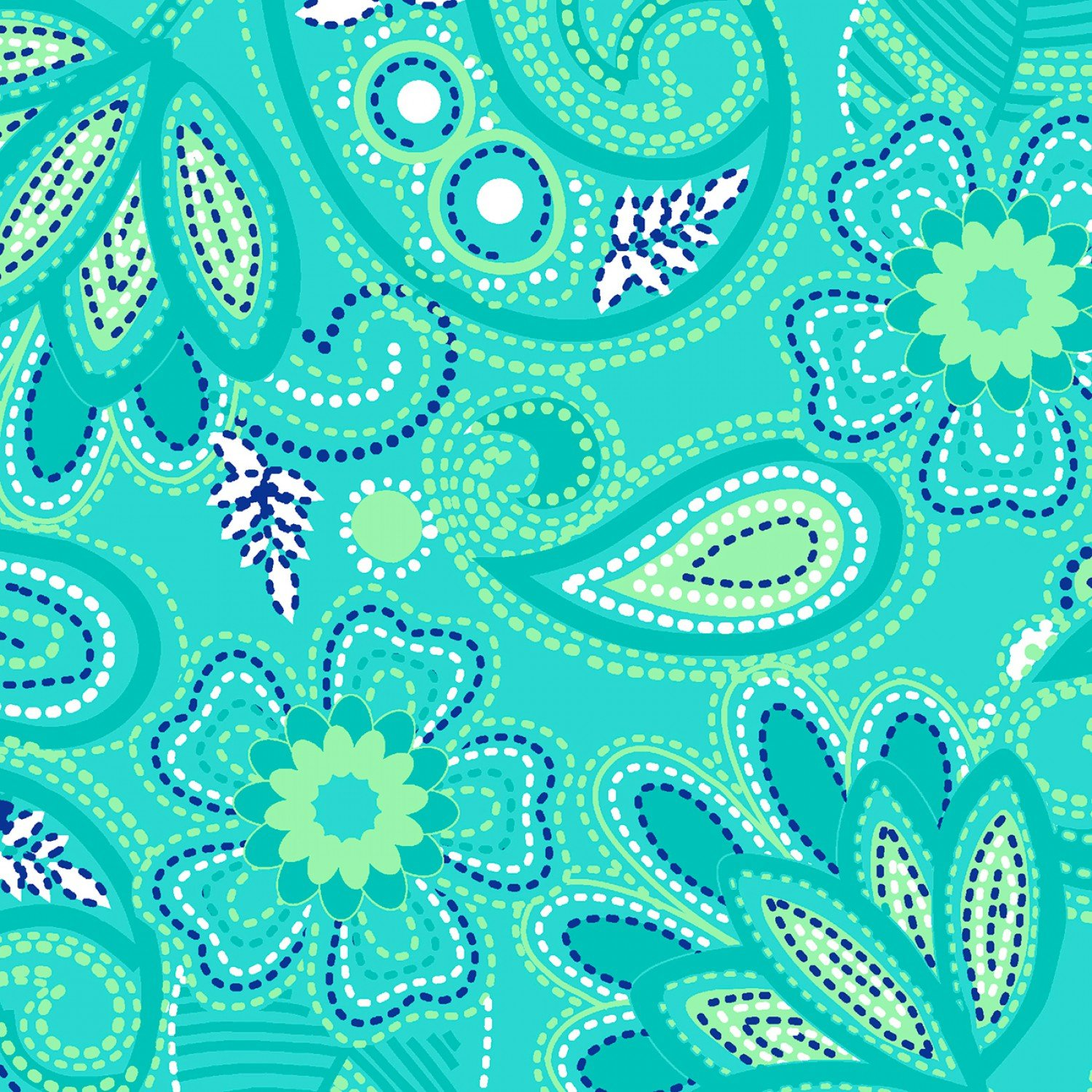 Stitches Floral Turquoise