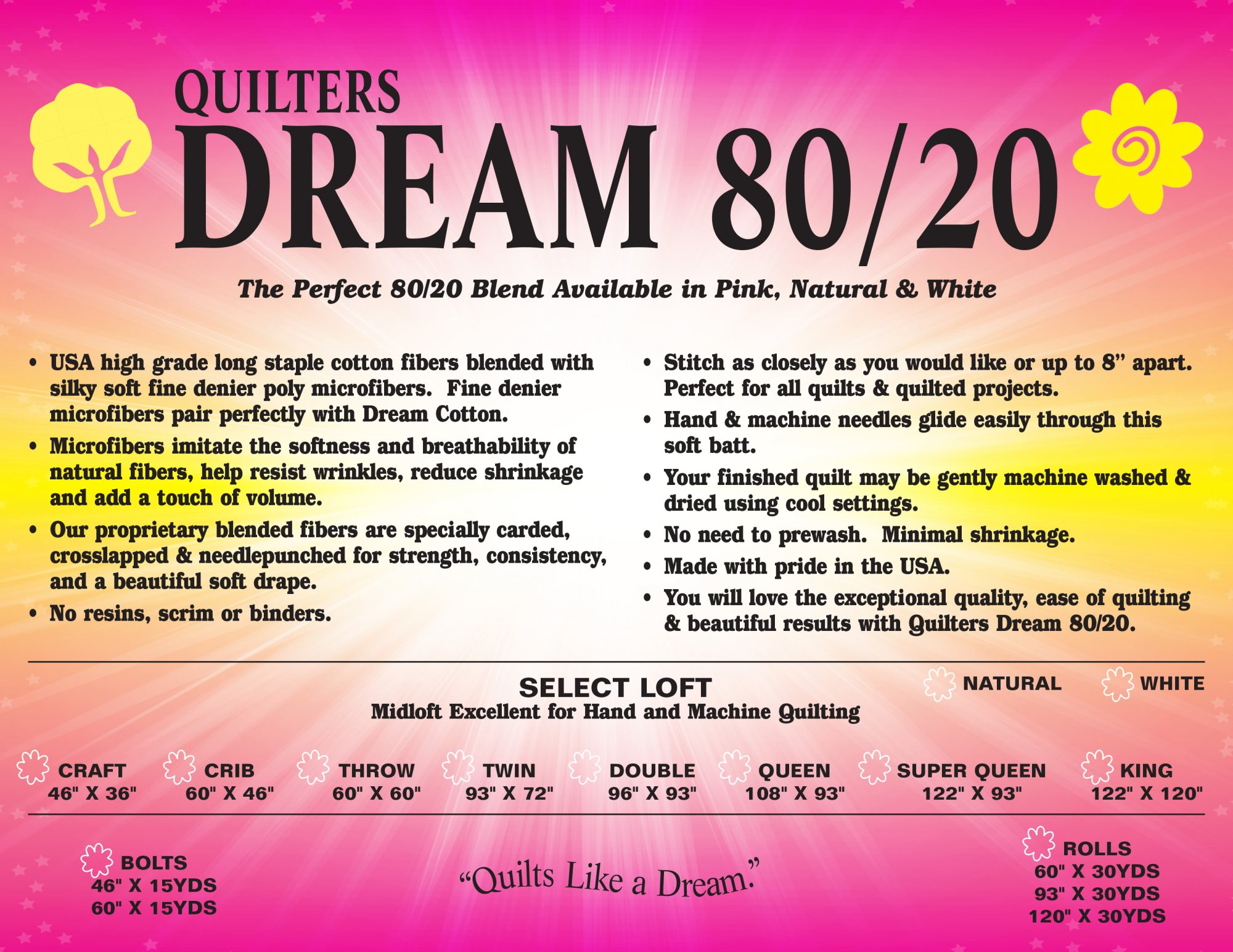 Dream 80/20 Natural Double 96 x 72