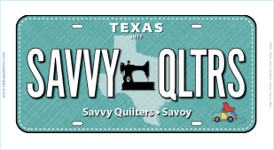 Savvy Quilters 2017 License Plate