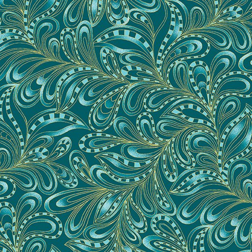 Featherly Paisley Teal 7555M-84
