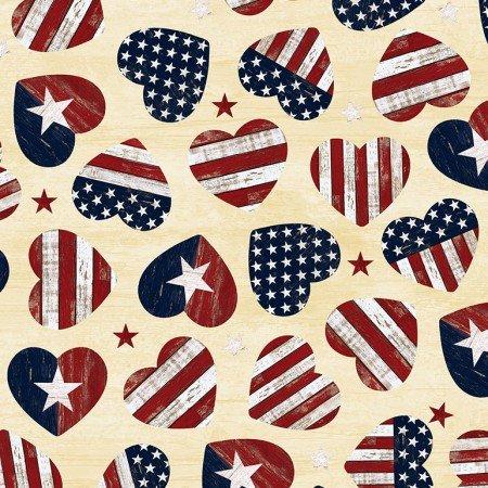 American Flag Hearts 7046-Cream
