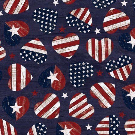 American Flag Hearts 7046-Navy