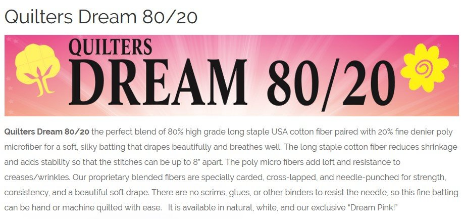 Quilters Dream 80/20 Craft Size