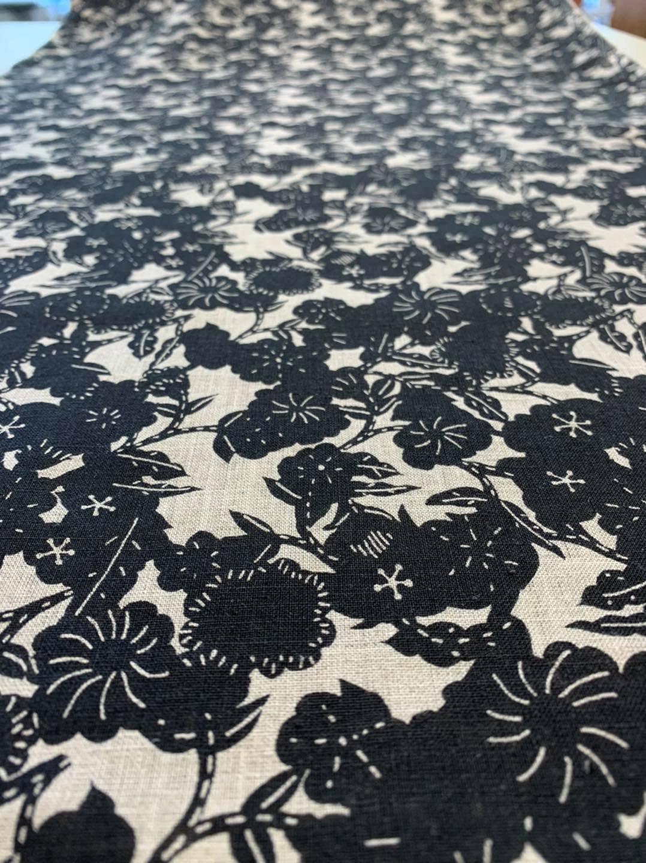 Black Blossoms Japanese Linen