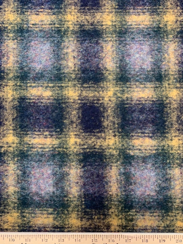 Blue Gold Plaid Wool Blend Knit