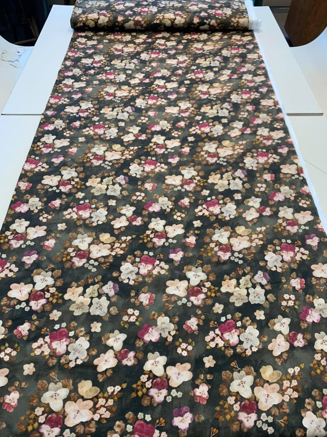 Pink and Green Rayon Floral