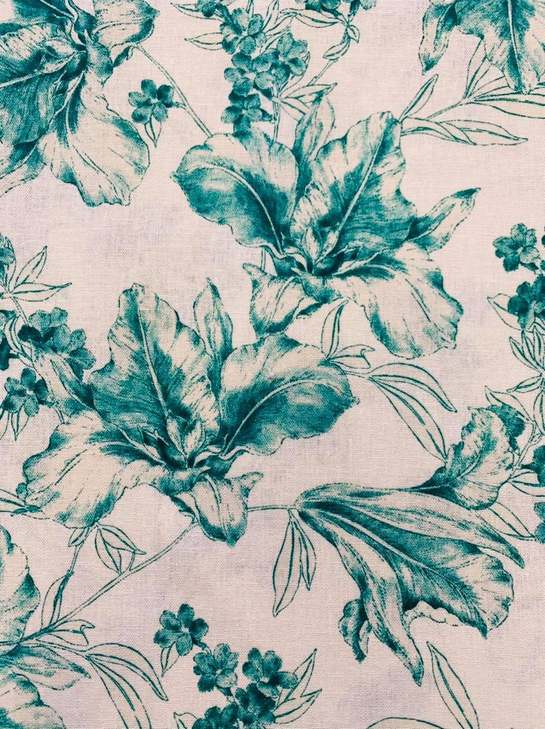 Magnolia Bloom in Teal and White