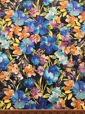Blue Wild Roses on Black Stretch Cotton