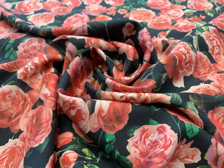 Salmon Roses on Black